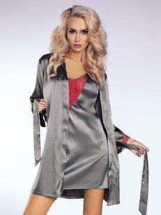 Platinum-Red zestaw szlafrok & koszula i stringi - srebrny