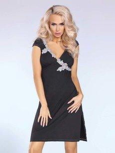 Sylvia sukienka czarna – elegancka sukienka z kontrastującym detalem