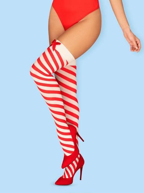 Kissmas świąteczne pończochy - czerwone - Obsessive
